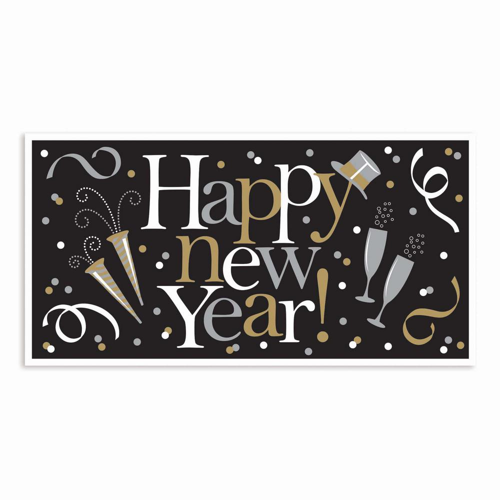 33.5 in. Happy New Year Large Horizontal Banner in Black Silver
