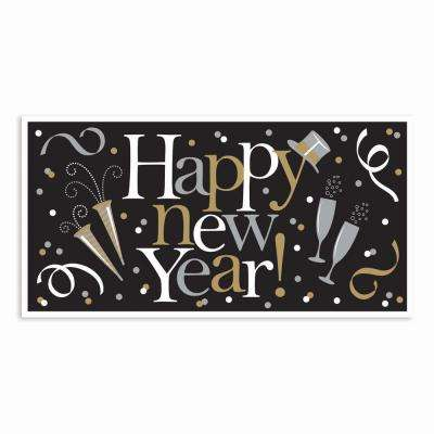 33.5 in. Happy New Year Large Horizontal Banner in Black Silver and Gold (5 Pack)