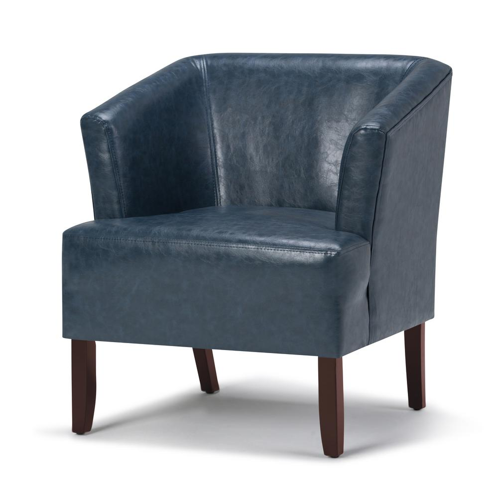 Simpli Home Longford Denim Blue Bonded Leather Arm Chair