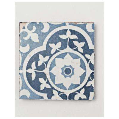Faenza Azul Encaustic Ceramic Floor and Wall Tile - 3 in. x 4 in. Tile Sample