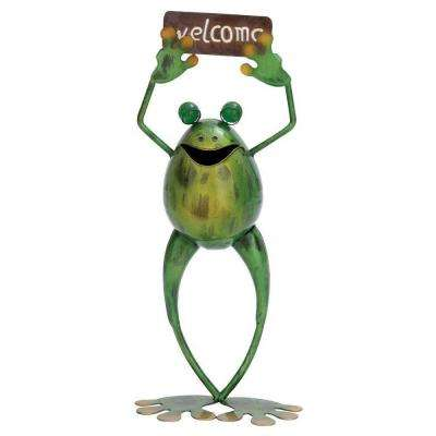 18 in. H x 8 in. L x 4 in. W Metal Welcome Frog