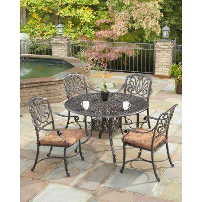 Floral Blossom Round 5-Piece Patio Dining Set with Burnt Sierra Leaf Cushions