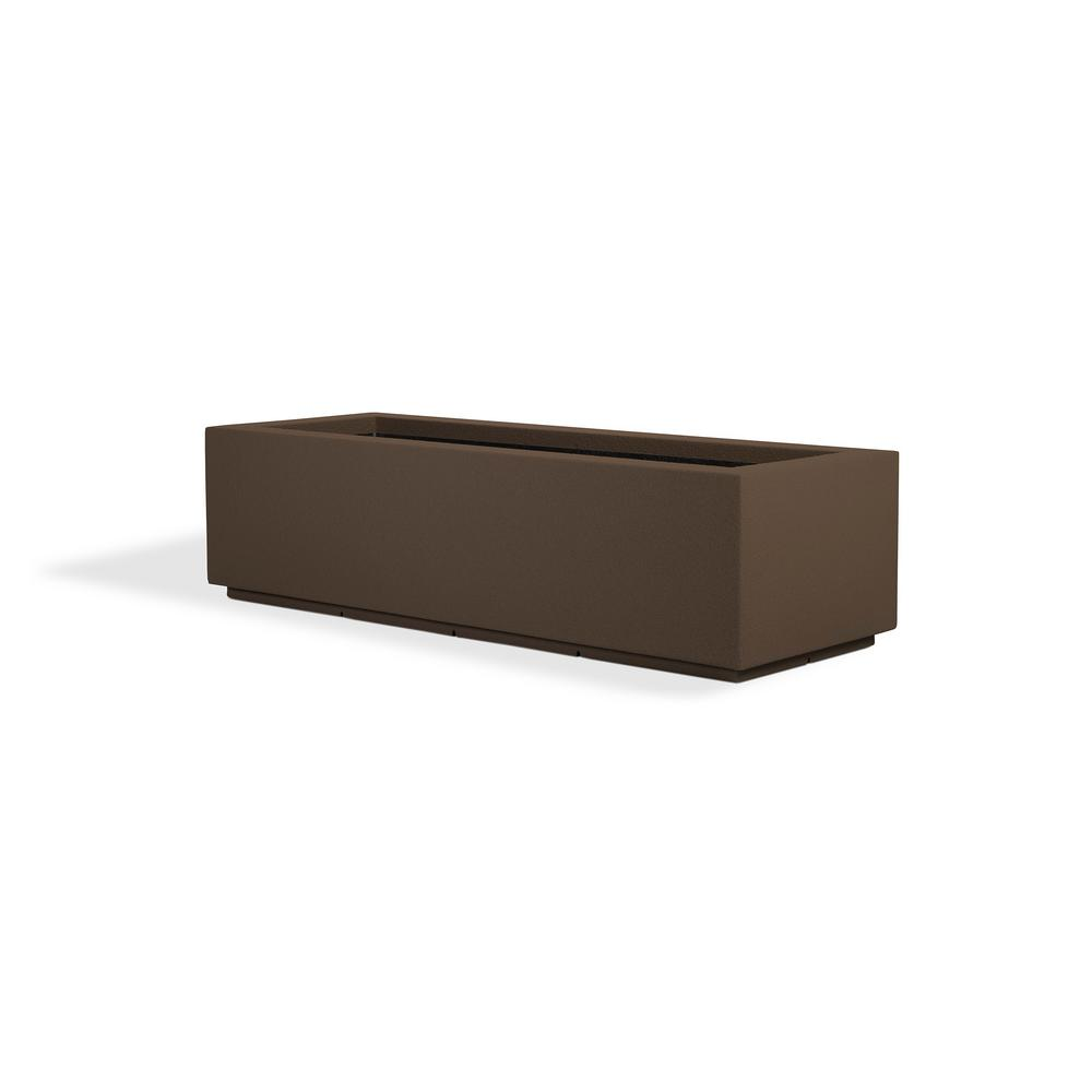 PolyStone Planters Riviera Short 46 in. x 12 in. Chocolate Brown Trough Composite Planter