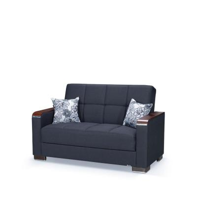 Armada 65 in. Dark Blue Chenille 2-Seater Convertible Loveseat with Storage