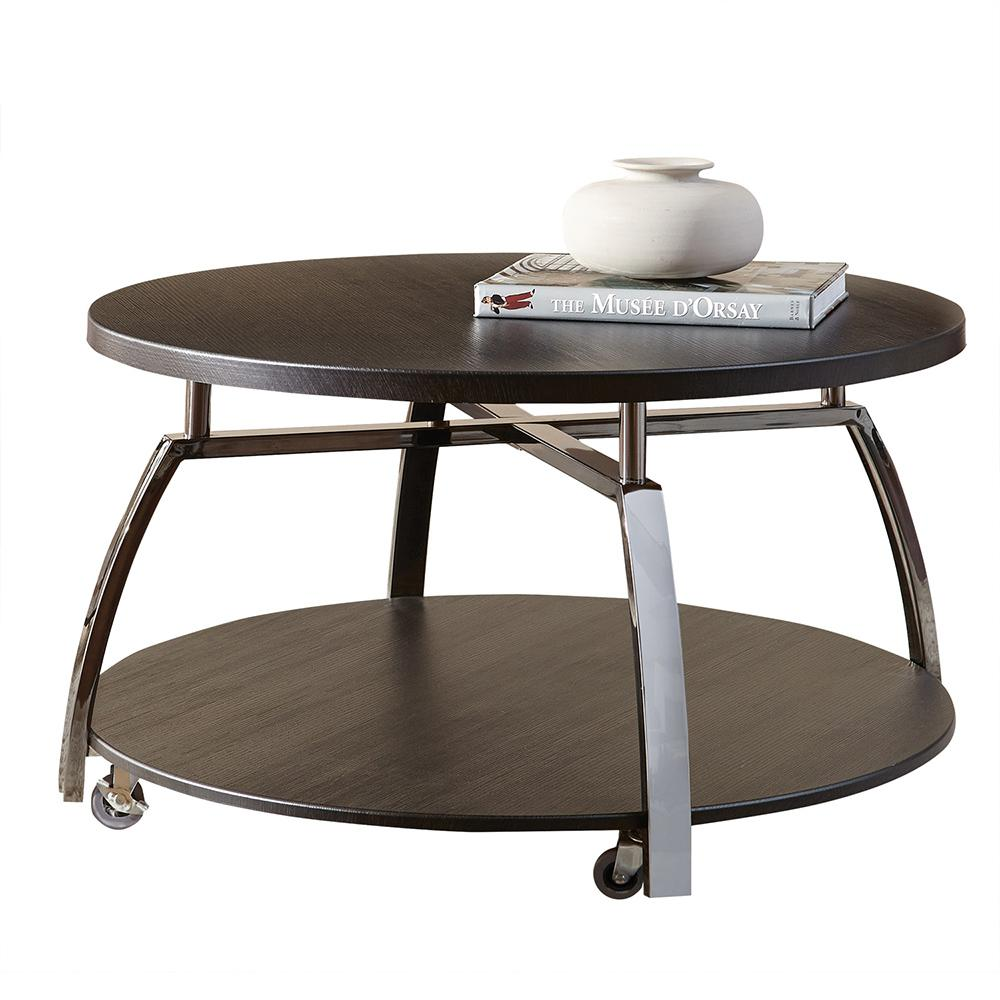 Genial Coham Espresso Silvershield And Metal Cocktail Table