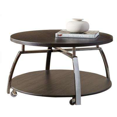 Coham Espresso Silvershield and Metal Cocktail Table
