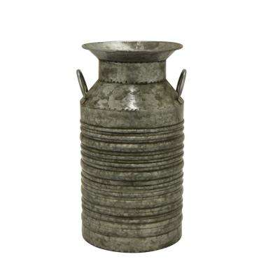 10 in. x 9 in.  Metal Jug in Gray