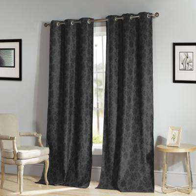 Aeryn 84 in. L x 54 in W Polyester Blackout Curtain Panel in Black (2-Pack)