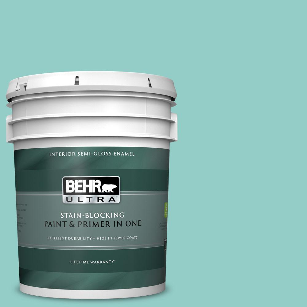 Behr Ultra 5 Gal 500d 4 Jamaica Bay Semi Gloss Enamel Interior Paint And Primer In One 375405 The Home Depot
