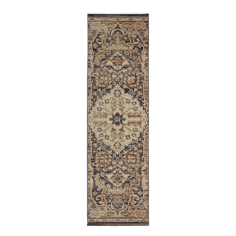 Home Decorators Collection Livia Blue Beige 2 Ft X 7 Ft Runner 571979 The Home Depot