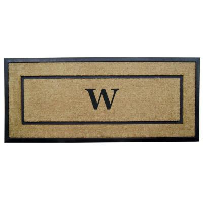DirtBuster Single Picture Frame Black 24 in. x 57 in. Coir with Rubber Border Monogrammed W Door Mat