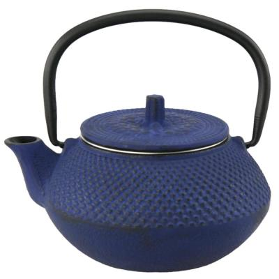 Kyusu Blue Cast Iron 10 oz. Tea Pot with Removable Stainless Steel Infuser Basket