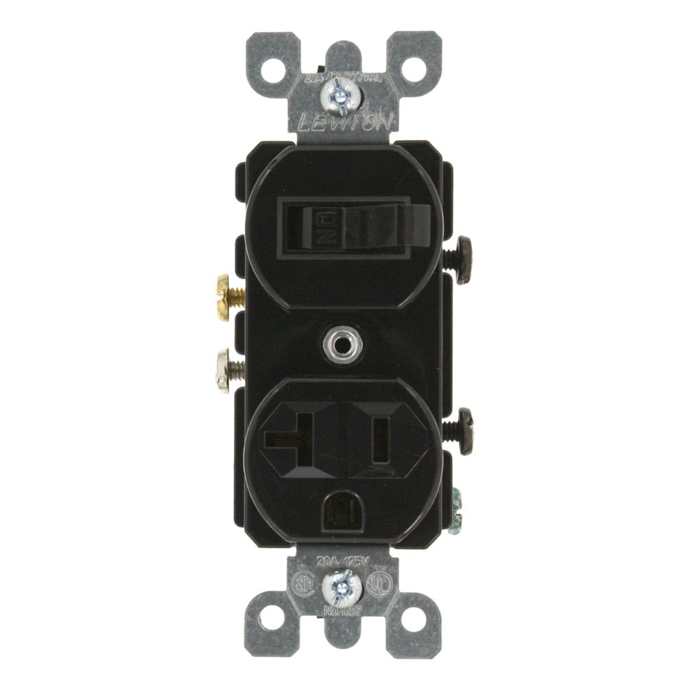 20 Amp Commercial Grade Combination Single Pole Switch and Receptacle, Black