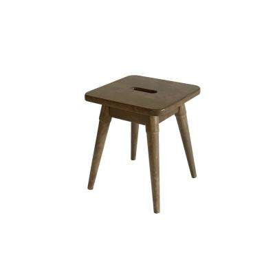 Arendal 18 in. Antique Chestnut Solid Wood Square Stool