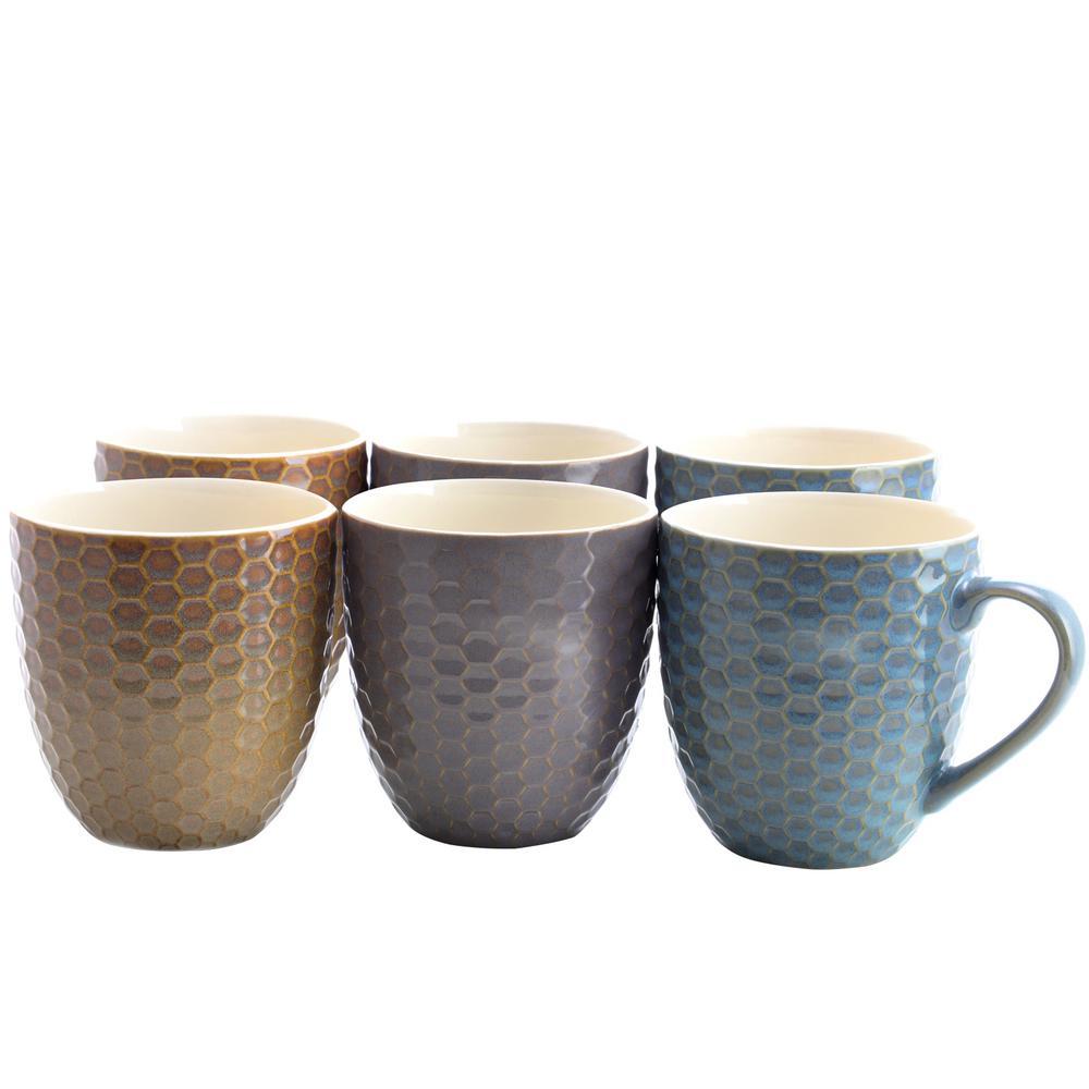 Honeysuckle 15 oz. Assorted Color Mugs (Set of 6)