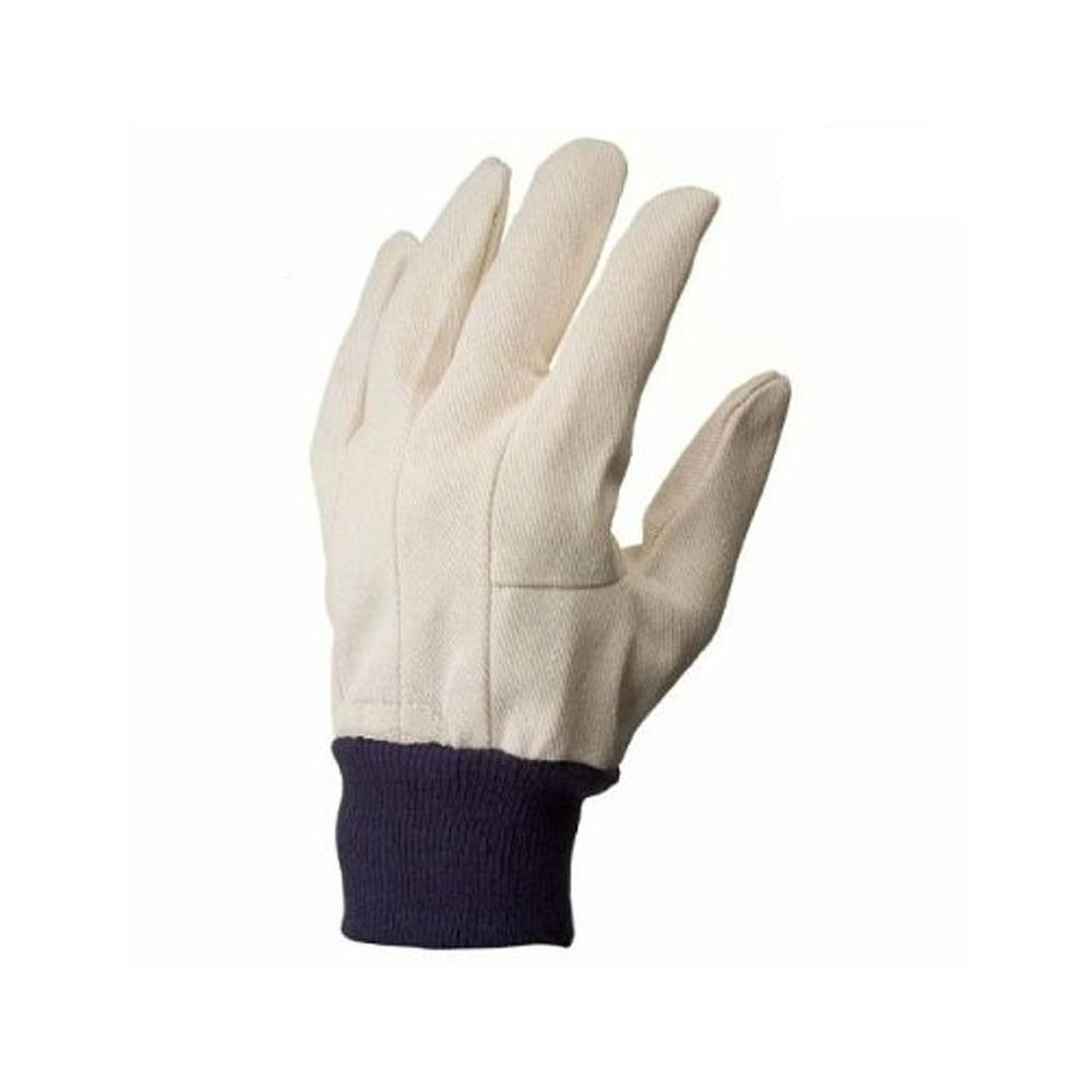 Large Men's Cotton Canvas Gloves in White (12-Pair), Whites