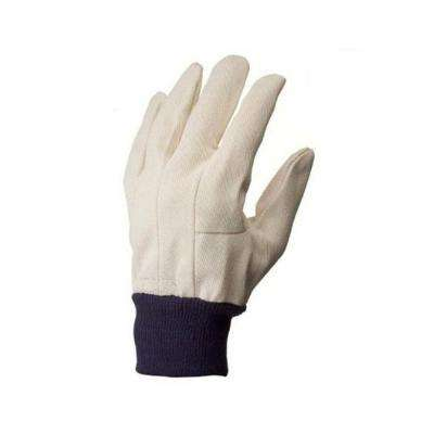 Large Men's Cotton Canvas Gloves in White (12-Pair)