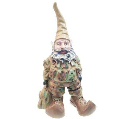 "15 in. H ""GI Joe"" Army Gnome Military Solider in Fatigues with Duffel Bag Home and Garden Gnome Statue"