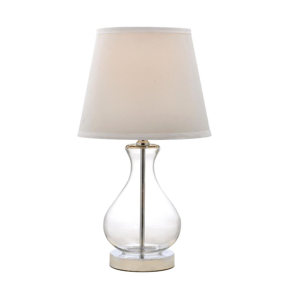 Catalina Lighting 18 In Clear Teardrop Glass Table Lamp With White Shade