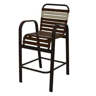Marco Island Cafe Brown Commercial Aluminum Bar Height Patio Dining Chair with Leisure Brown and Putty Vinyl Straps