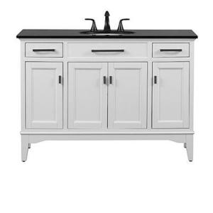 Home decorators collection wellington 44 in w x 22 in d bath w bath vanity in white with granite vanity top in black home decorators collection teraionfo