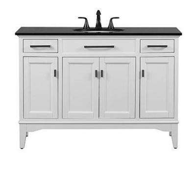 Manor Grove 49 in. W Bath Vanity in White with Granite Vanity Top in Black with White Basin