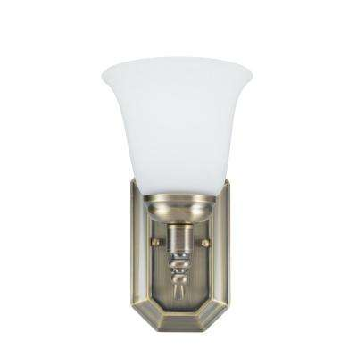 1-Light Antique Brass Vanity Light with Frosted Glass Shade