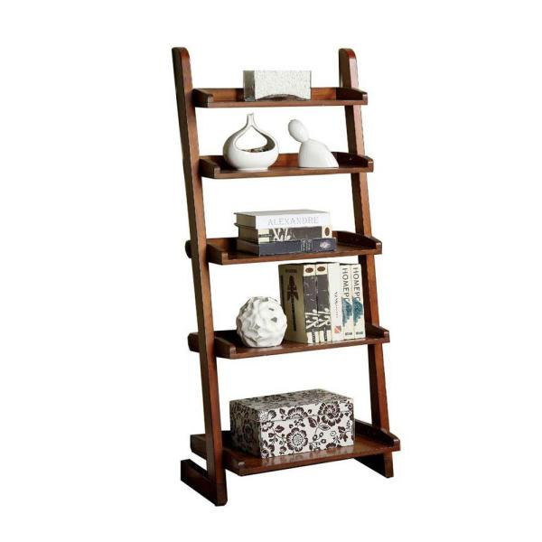 Benzara Antique Oak Lugo Transitional Style Ladder Shelf BM123121