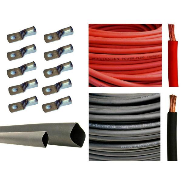 25 ft. Black+25 ft. Red 8AWG with 10pcs of 3/8'' Tinned Copper Cable Lug Terminal Connectors and 3 ft. Heat Shrink Tubing