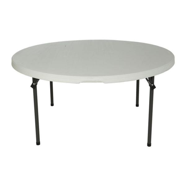 60 in. White Plastic Round Stackable Folding Table