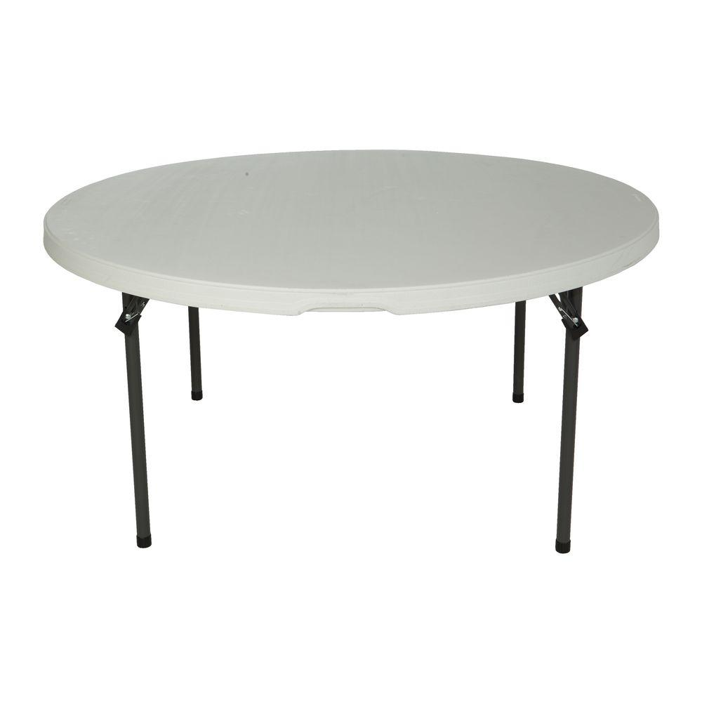 60 in. White Round Granite Commercial Stacking Folding Table
