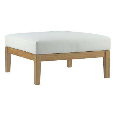 Bayport Patio Teak Outdoor Ottoman in Natural with White Cushions