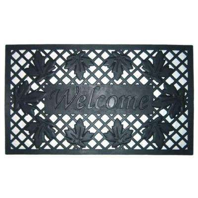 Lattice and Leaves 18 in. x 30 in. Rubber Door Mat