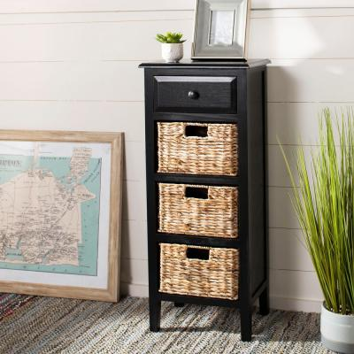 Michaela Distressed Black Storage Side Table