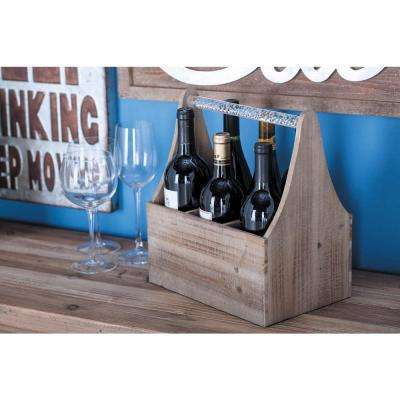 11 in. x 7 in. x 13 in. Wood and Acrylic ToolBox Wine Holder