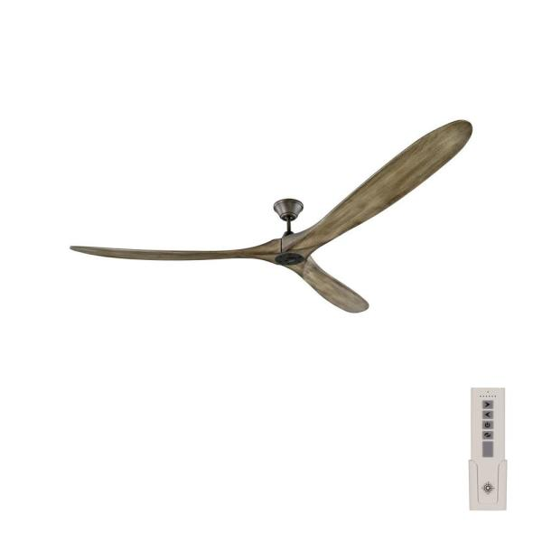 Maverick Super Max 88 in. Indoor/Outdoor Pewter Ceiling Fan with Light Grey Weathered Oak Blades and Remote Control