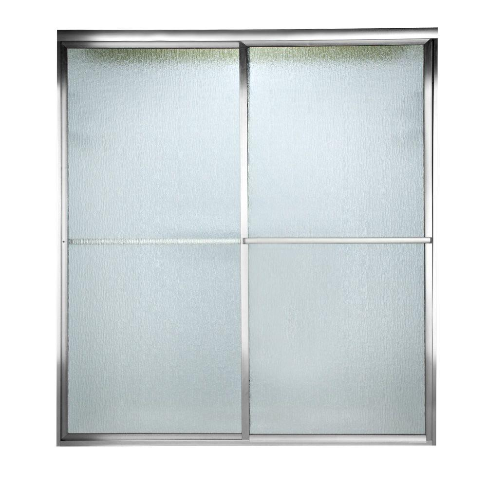 American Standard Prestige 59.5 in. x 58-1/2 in. Framed Bypass Shower Door in Silver with Rain Glass