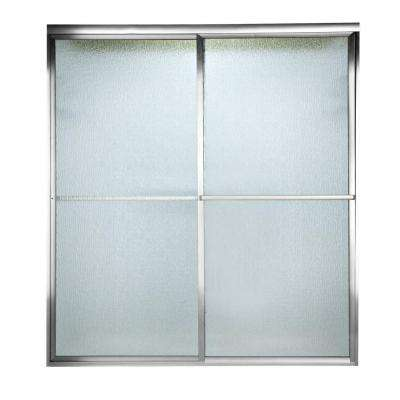Prestige 59.5 in. x 58-1/2 in. Framed Sliding Shower Door in Silver with Rain Glass