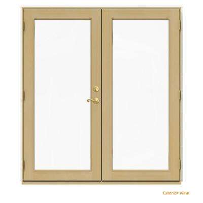 72 in. x 80 in. W-2500 White Clad Wood Right-Hand Full Lite French Patio Door w/Unfinished Interior