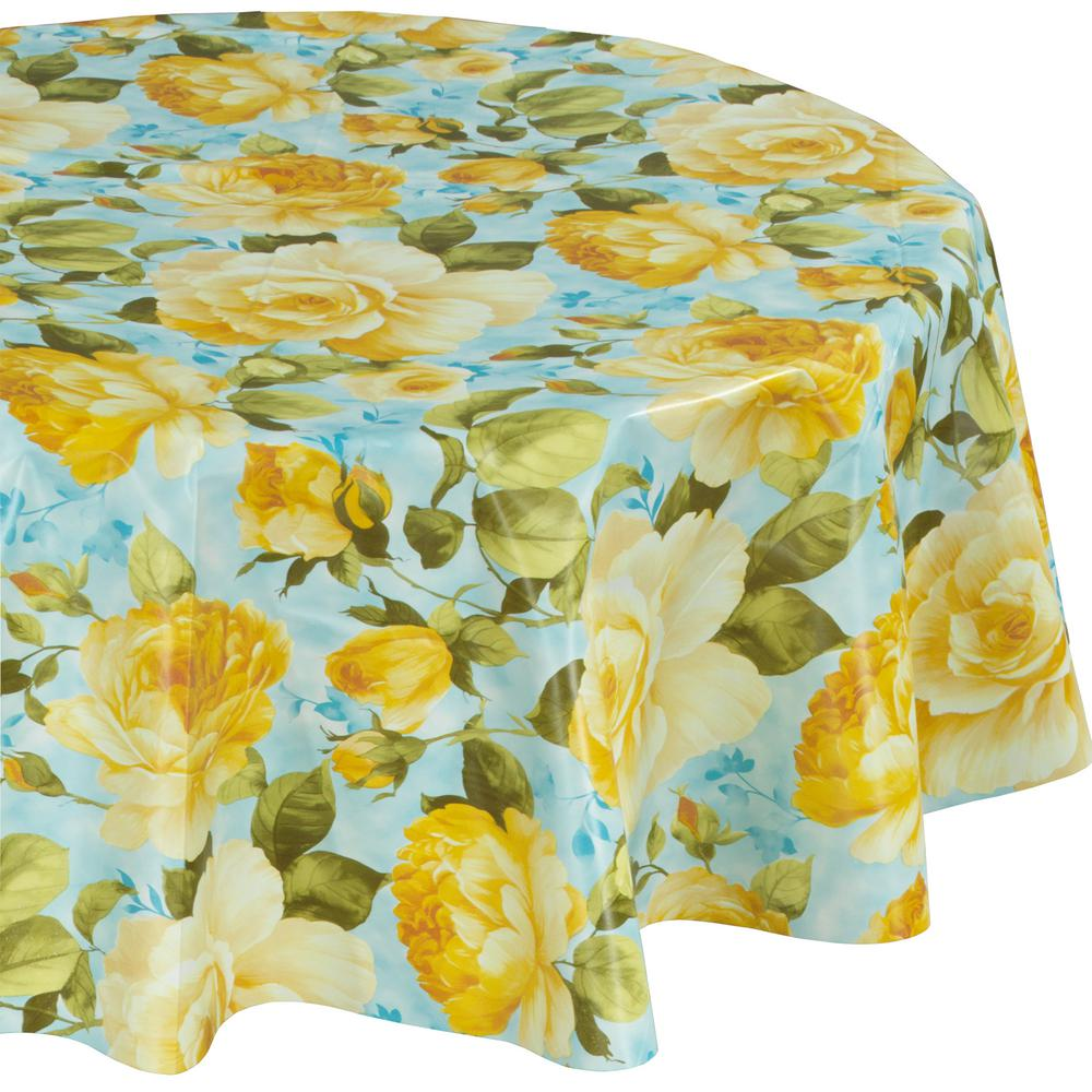 55 in. Yellow Round Indoor and Outdoor Sunflower Design Table Cloth