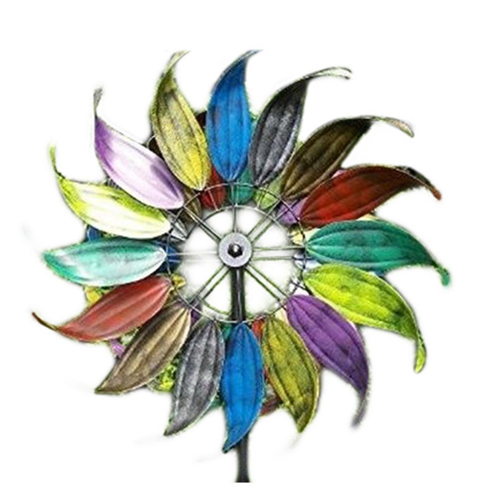 Rainbow Metal Feathers Kinetic Wind Spinner Garden Stake