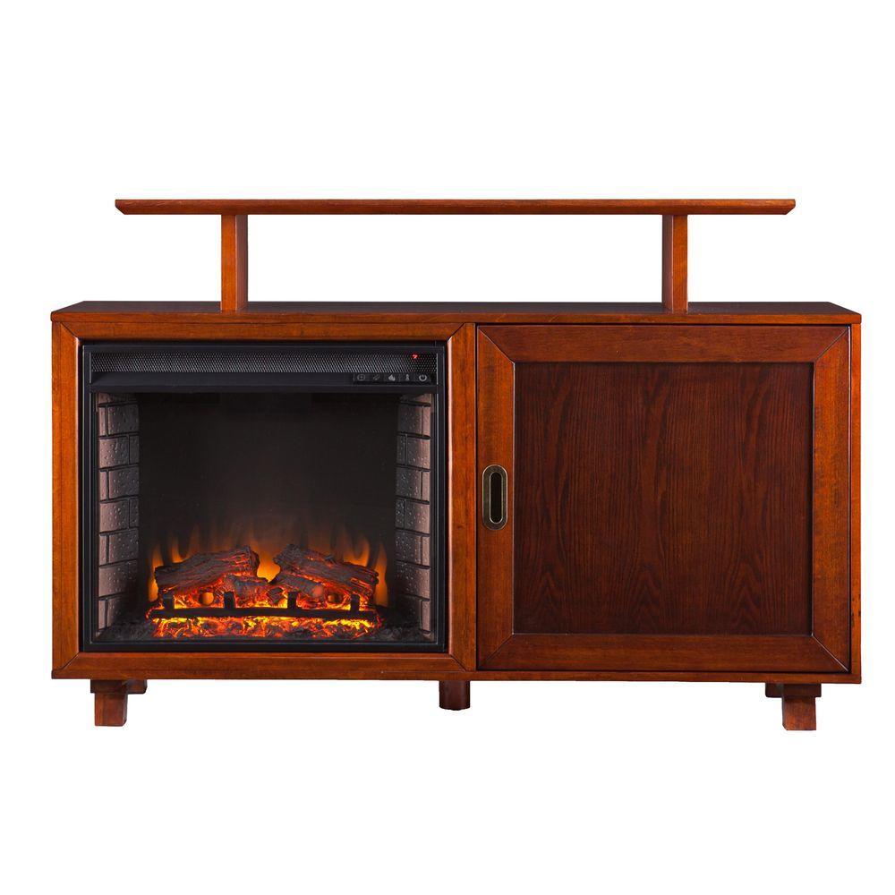 Southern Enterprises Harrison 51.5 in. Freestanding Media Electric Fireplace in Walnut/Espresso