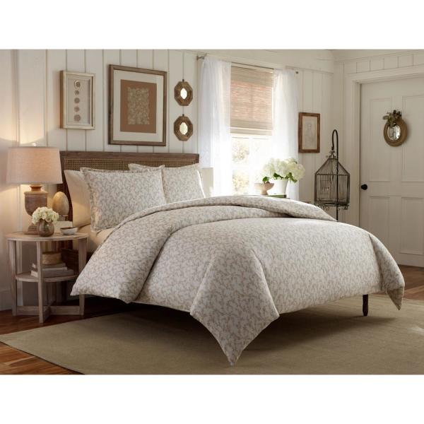 Laura Ashley Victoria 3-Piece Taupe Full/Queen Duvet Cover Set