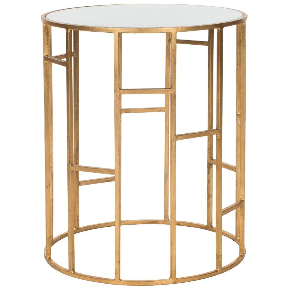 Safavieh Doreen Gold And White Gl Top End Table