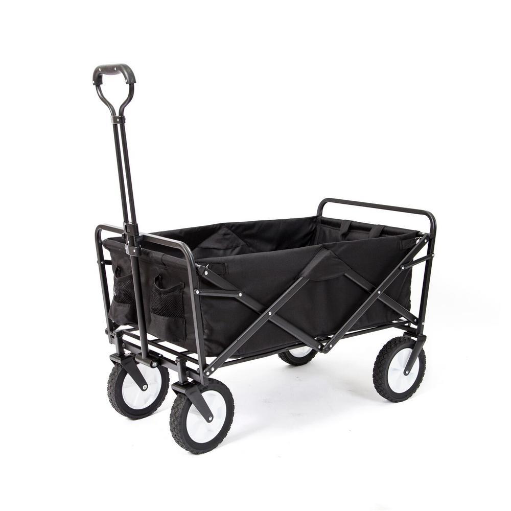 Collapsible Folding Frame Outdoor Garden Utility Wagon Cart, Black