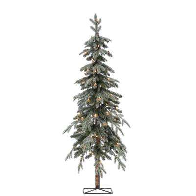 5 ft. Pre-Lit Flocked Natural Cut Alpine Artificial Christmas Tree with 70 Clear Lights
