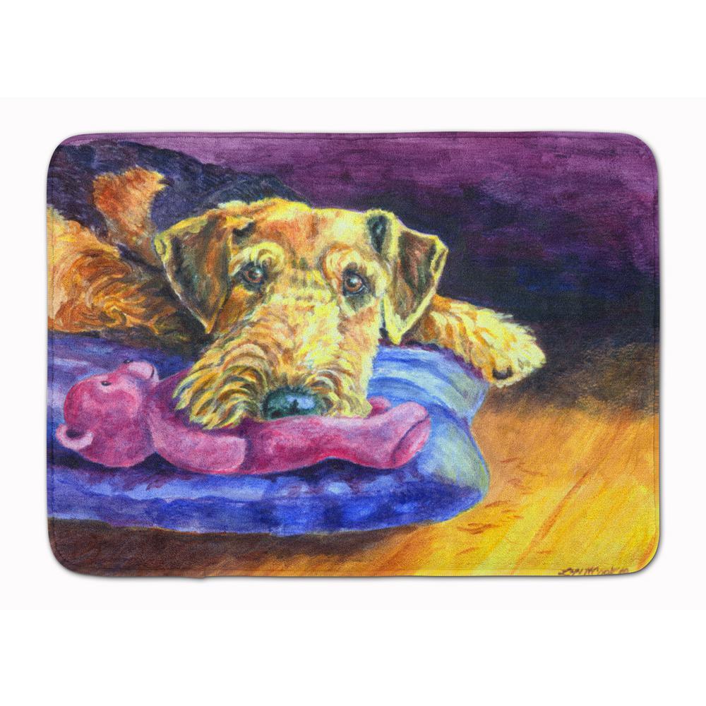 19 in. x 27 in. Airedale Terrier Teddy Bear Machine Washable Memory Foam Mat