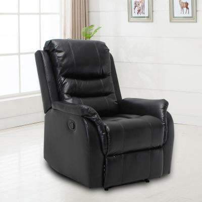 Stanley Black Oversized Faux Leather Recliner