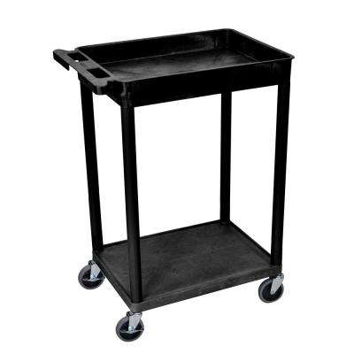 STC 24 in. W x 18 in. D 2 Top Tub and Bottom Flat Shelf Utility Cart - Black