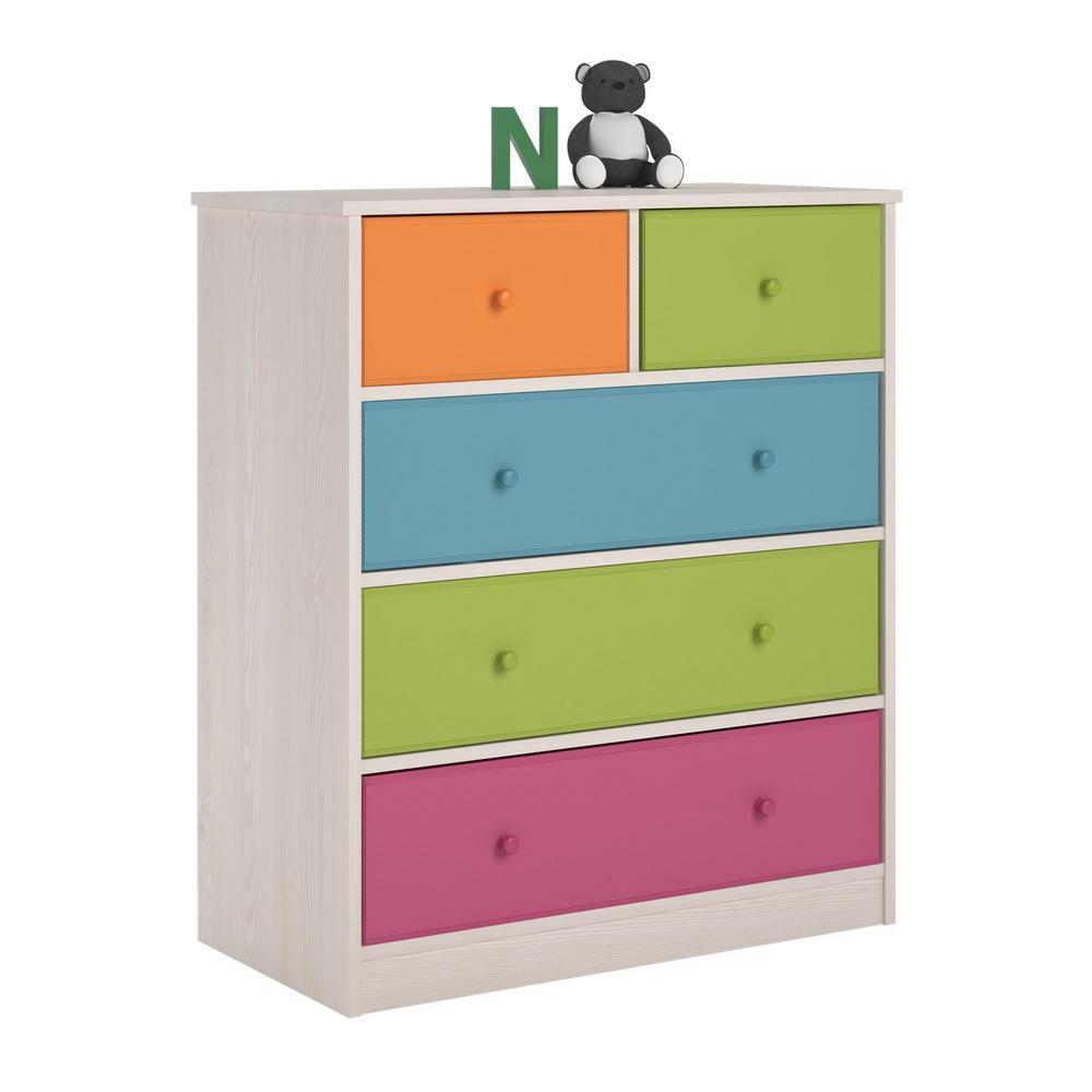 Allison 5-Drawer White Dresser
